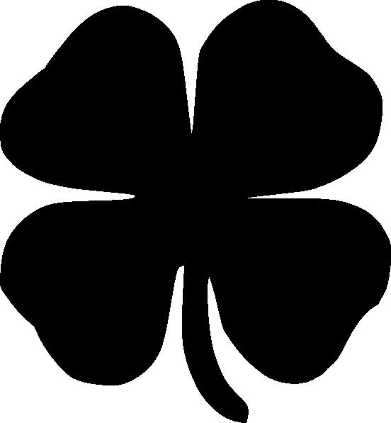 552x597 Four Leaf Clover Black Clip Art