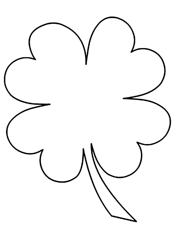 600x808 Four Leaf Clover In Simple Pattern Colouring Page Four Leaf