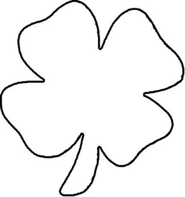 600x639 Lets Draw Four Leaf Clover Coloring Page