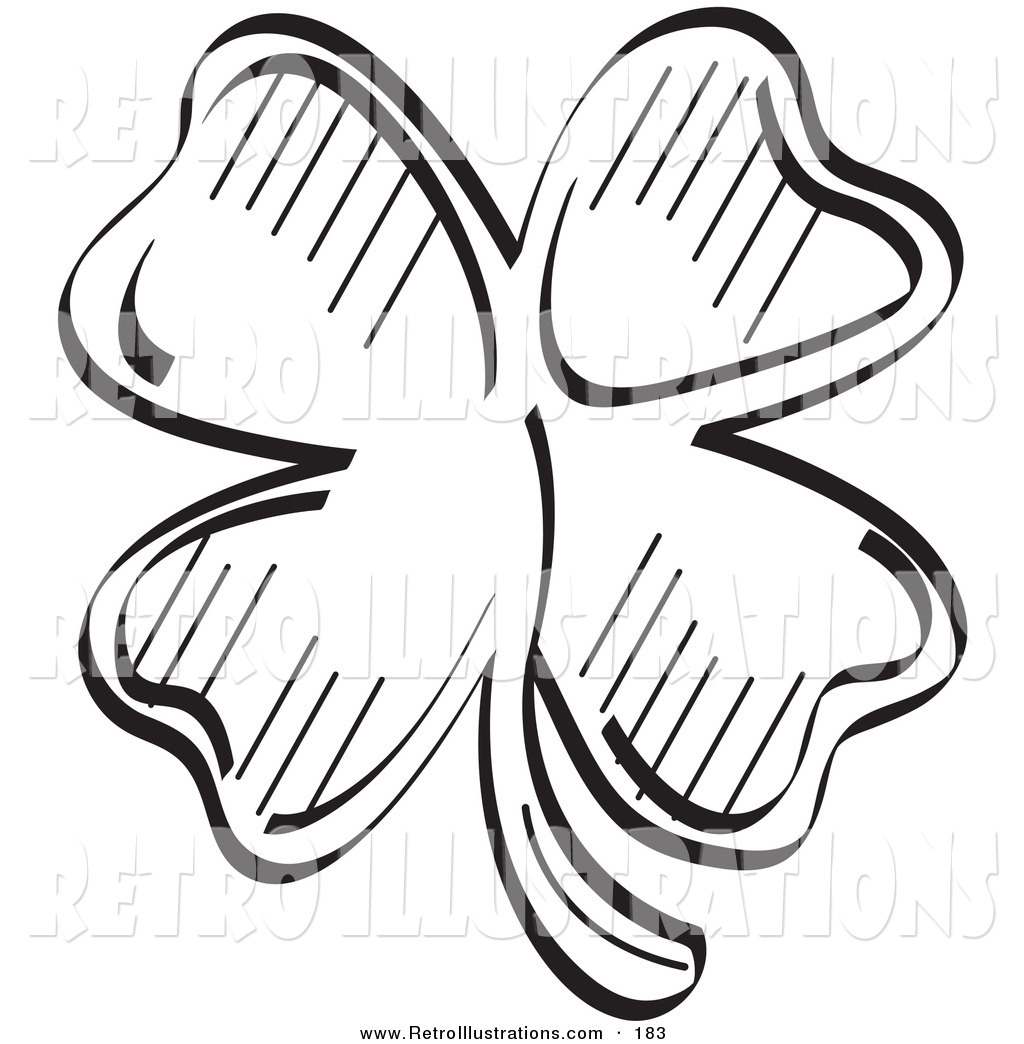 1024x1044 Retro Illustration Of A Lucky Four Leaf Clover In Black And White