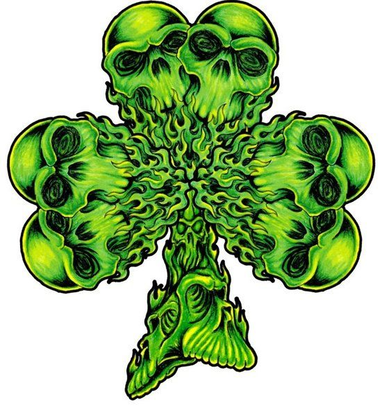 550x588 32 Best Skull And Four Leaf Clover Tattoo Images