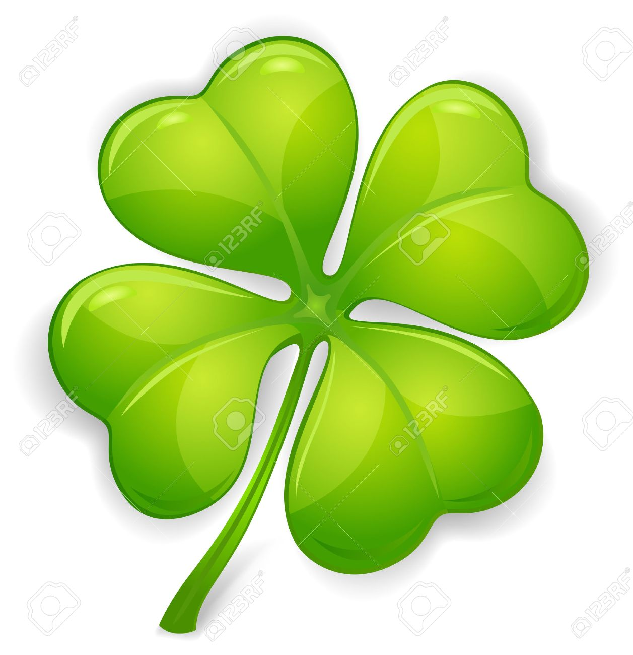 1257x1300 Four Leaf Clover Isolated On White, Vector Illustration For St