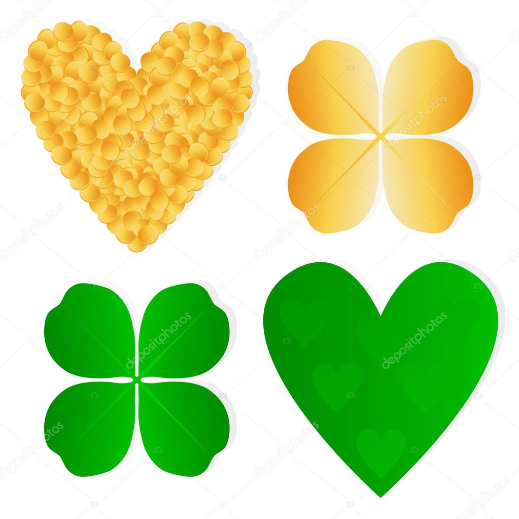 1023x1023 Four Leaf Clover Shamrock Luck Vector And Gold Coins Background