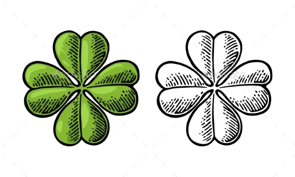 590x355 Good Luck Vintage Four Leaf Clover By Morevector Graphicriver