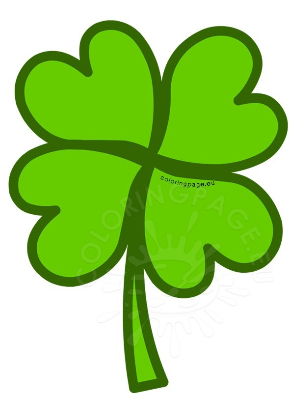 591x808 Green Four Leaf Clover Clipart Coloring Page