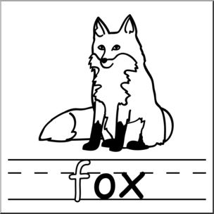 304x304 Clip Art Basic Words ox Phonics Fox BampW I abcteach