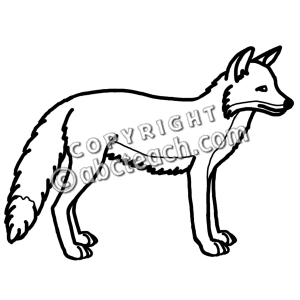 300x300 Red Fox clipart black and white