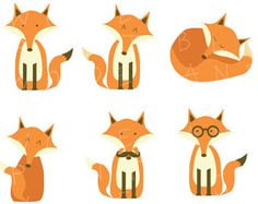 236x187 Winter Fox Clipart Digital Art Set by by BitsyCreations on Etsy