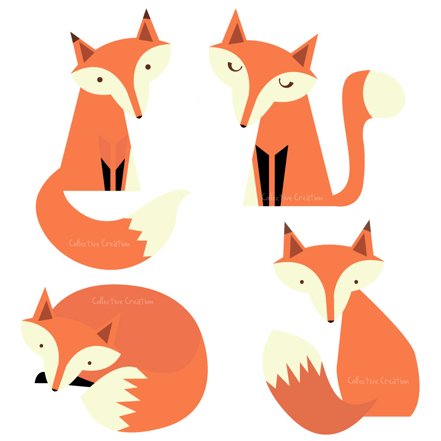 900x900 Fox Black And White Cute Fox Black And White Clipart 7