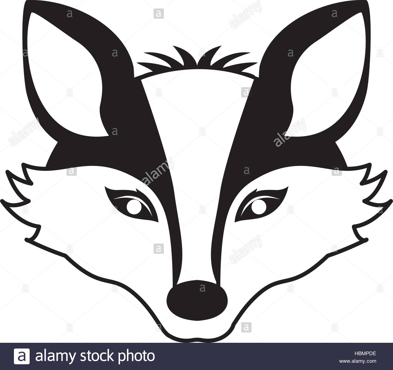 1300x1223 Silhouette Contour Monochrome With Fox Face Vector Illustration