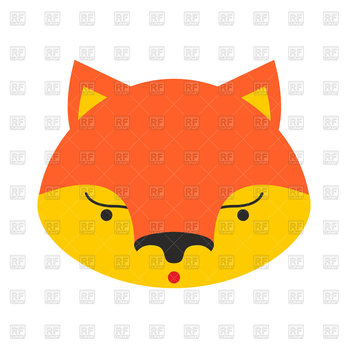 1200x1200 Cartoon Fox Face Royalty Free Vector Clip Art Image