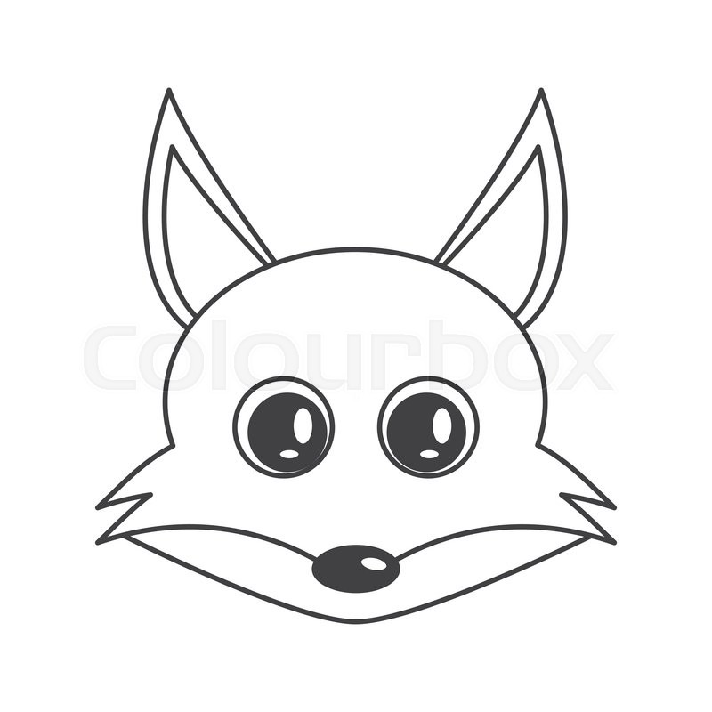 800x800 Flat Design Cute Fox Cartoon Icon Vector Illustration Stock