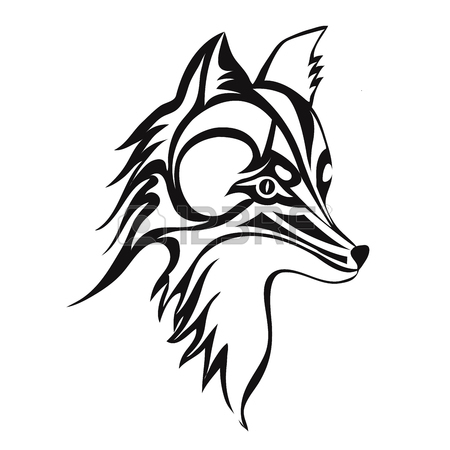 450x450 Fox Or Dog Face, Tattoo. Vector Illustration, Isolated On White
