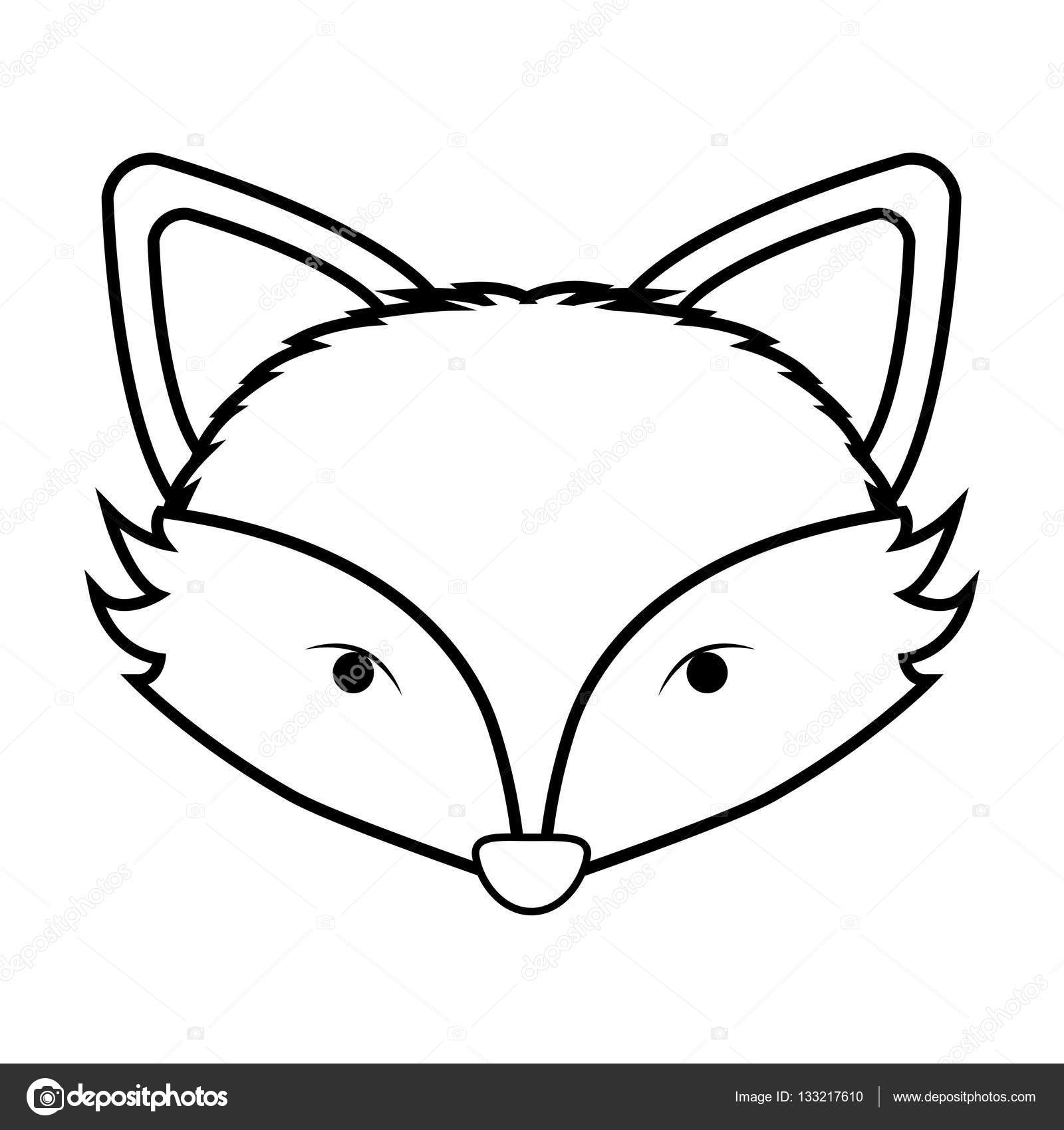 1600x1700 Contour Monochrome With Fox Face Stock Vector Grgroupstock