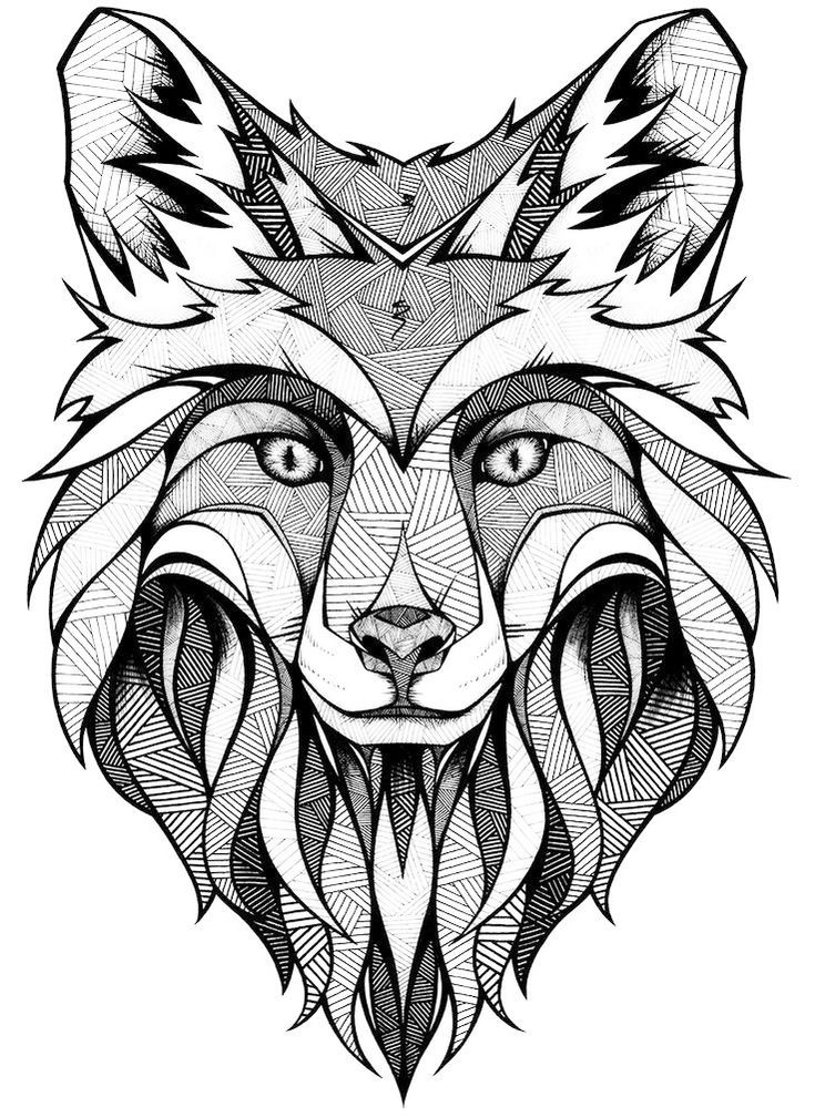735x1009 Mandala Fox Face Coloring Page Art Coloring Pages Amp Designs