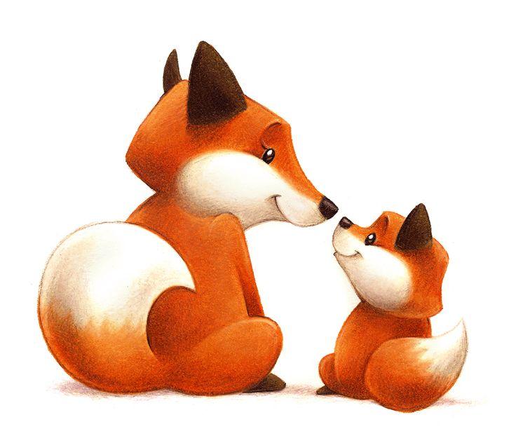 736x632 Mama and Baby Fox Clip Art