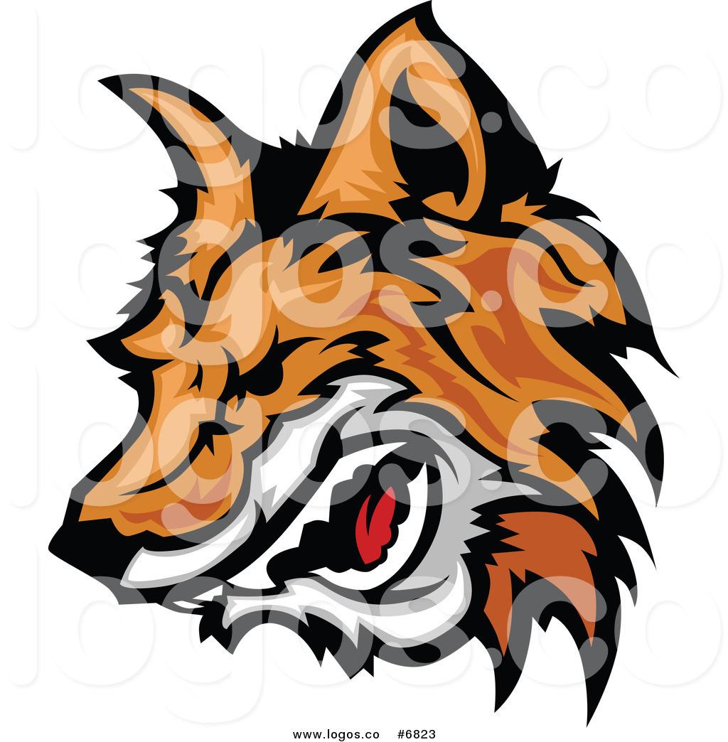 1024x1044 Royalty Free Clip Art Vector Logo of an Aggressive Fox Head Mascot