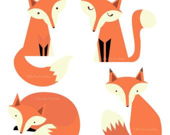 340x270 Vintage Fox Clip Art Fox Family Digital Clipart