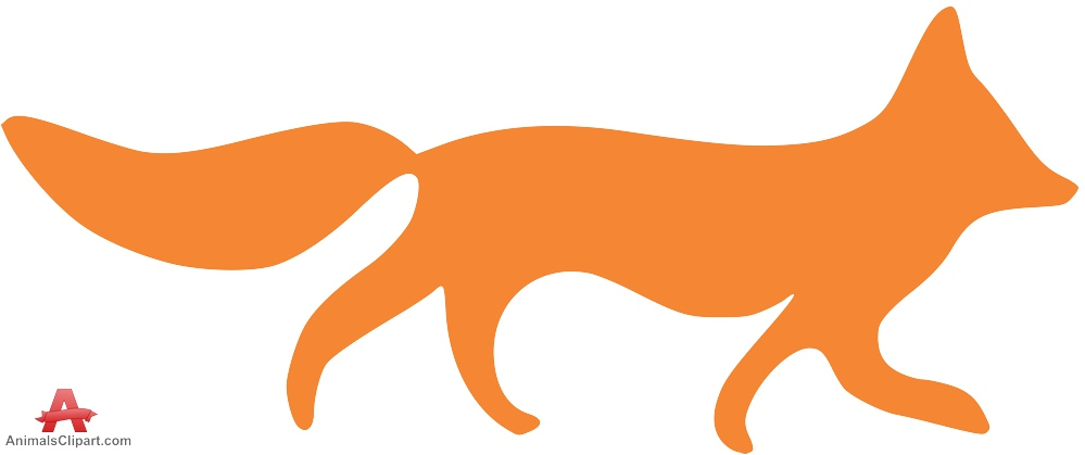 999x419 Orange Fox Silhouette Free Clipart Design Download