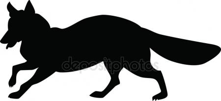 450x206 Silhouette of the fox — Stock Vector © Prawny