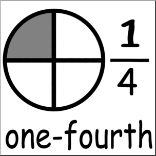 304x304 Clip Art Labeled Fractions 04 14 One Fourth Grayscale I