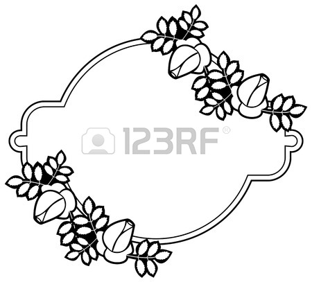 450x407 Black And White Silhouette Floral Frame. Ornament For Laser
