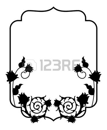 371x450 Black And White Silhouette Floral Frame. Vector Clip Art Royalty