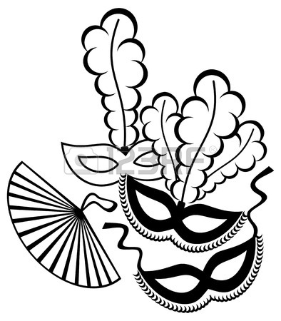394x450 Black And White Silhouette Frame With Carnival Masks. Copy Space