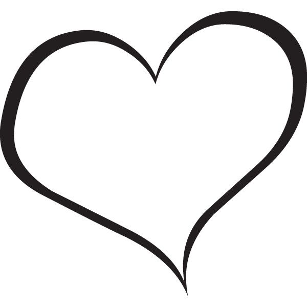 600x600 Heart Clip Art Black And White