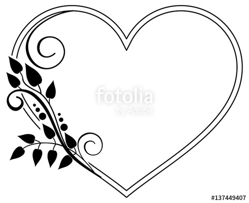 500x407 Heart Shaped Black And White Frame With Floral Silhouettes. Vector