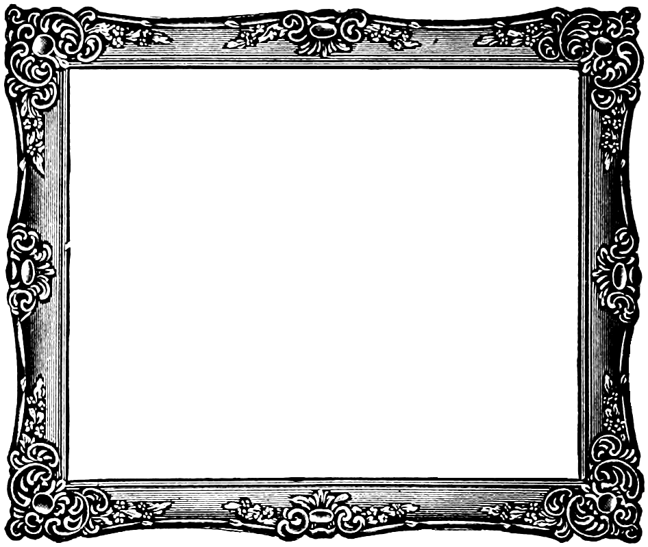 946x799 Fancy Painting Frame Black And White Clip Art