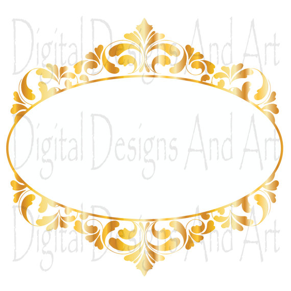 570x570 Gold Wedding Frames, Gold Frames, Digital Clip Art Frames, Gold