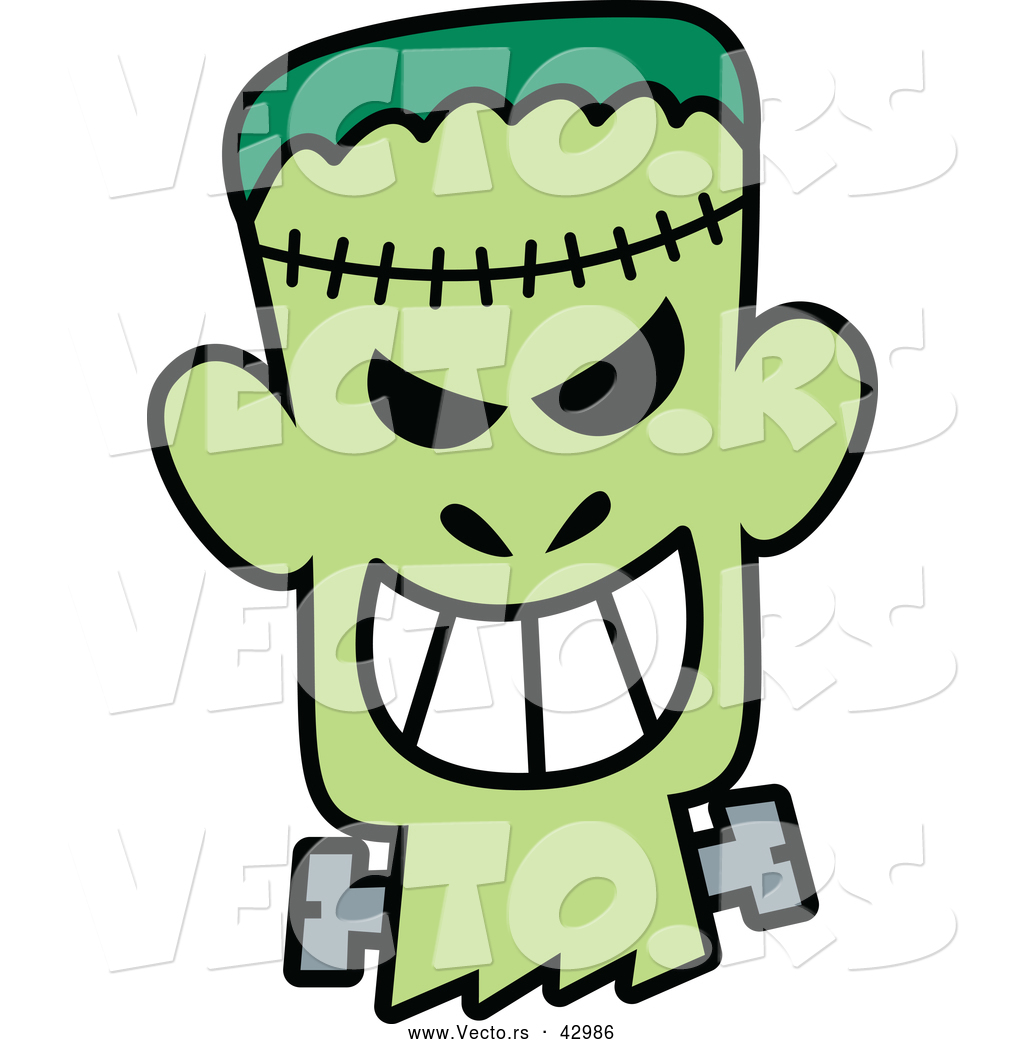 1024x1044 Vector Of A Grinning Cartoon Halloween Frankenstein By Zooco