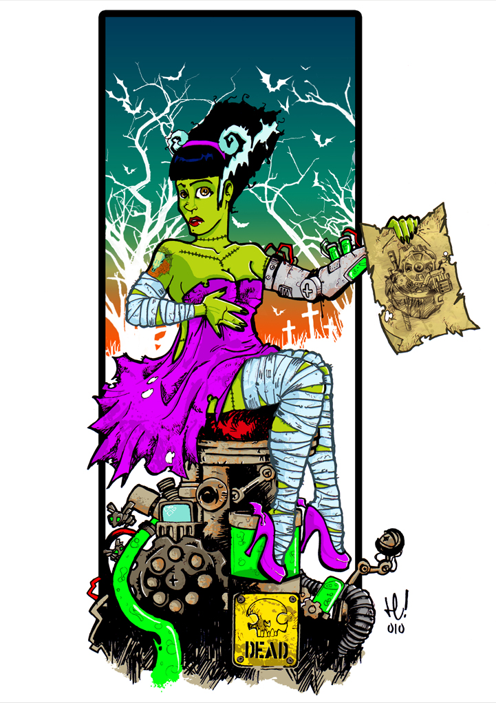 721x1021 Bride Of Frankenstein Cartoon New Age Bride Of Frankenstein By