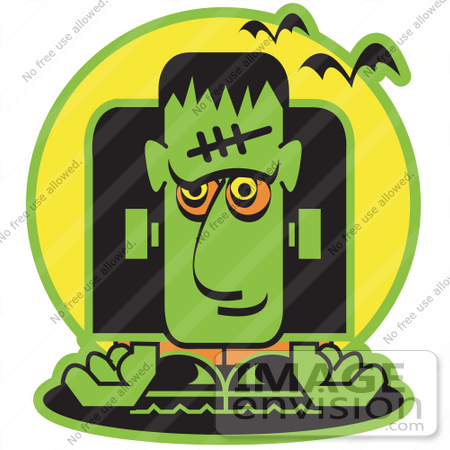 450x450 Clip Art Of A Green Frankenstein With Vampire Bats Halloween