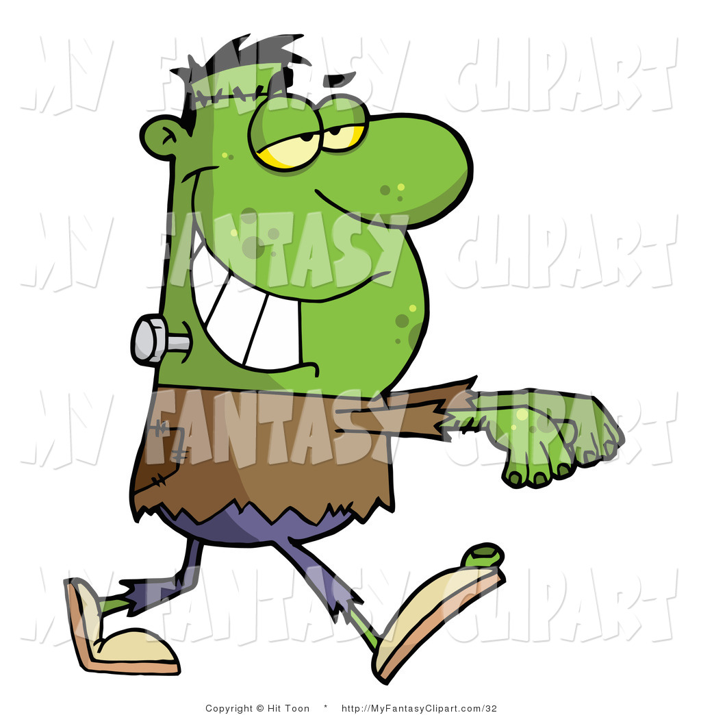 1024x1044 Clip Art of a Green Frankenstein Walking Stiffly with His Arms out
