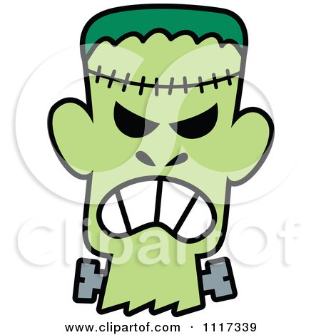 450x470 Cartoon Of A Halloween Frankenstein With An Angry Expression