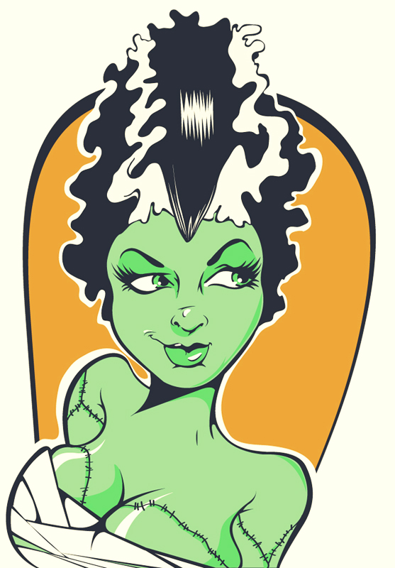 557x800 Bride Of Frankenstein Clipart Vector Art