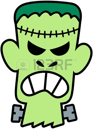 327x450 Cartoon Green Frankenstein Monster Isolated On White Royalty Free