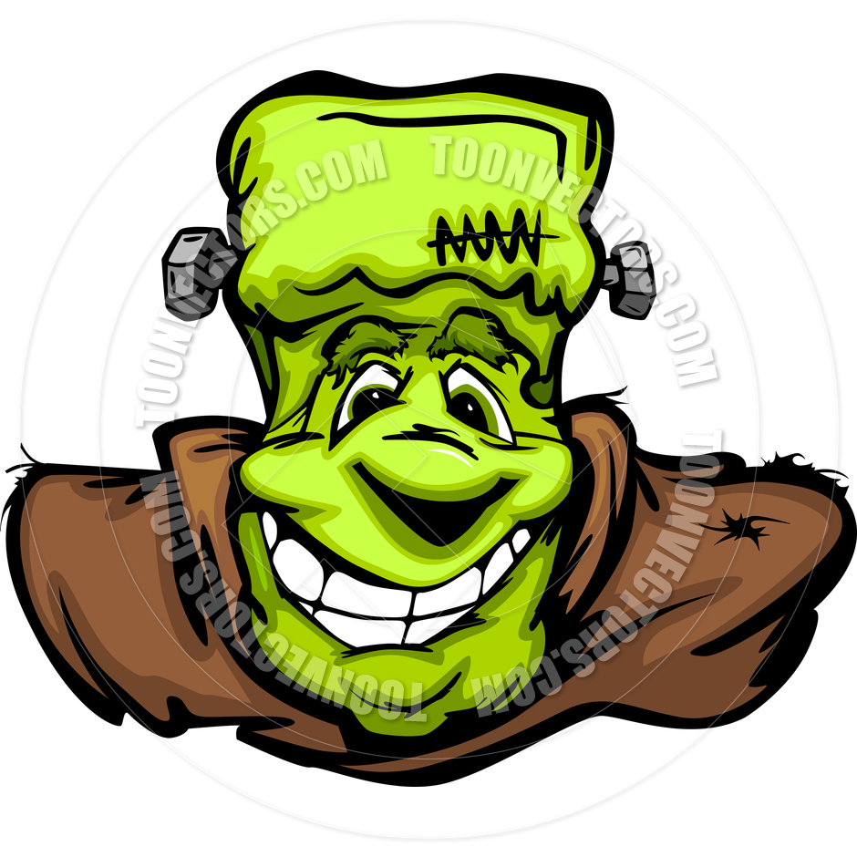 940x940 Happy Frankenstein Halloween Monster Head Cartoon Vector
