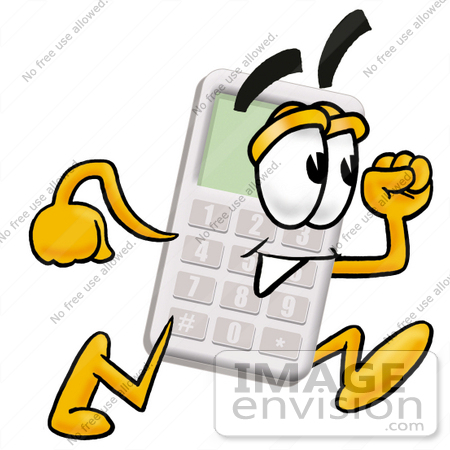 450x450 Clip Art Graphic Of A Calculator Cartoon Character Running