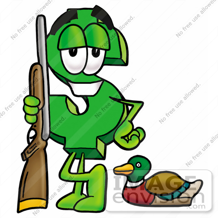 450x450 Clip Art Graphic Of A Green Usd Dollar Sign Cartoon Character Duck