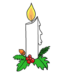 236x236 Christmas Candle Clip Art