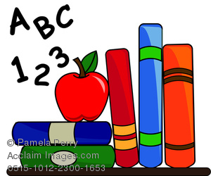 300x250 Clip Art Illustration Of School Books, Alphabet, And An Apple