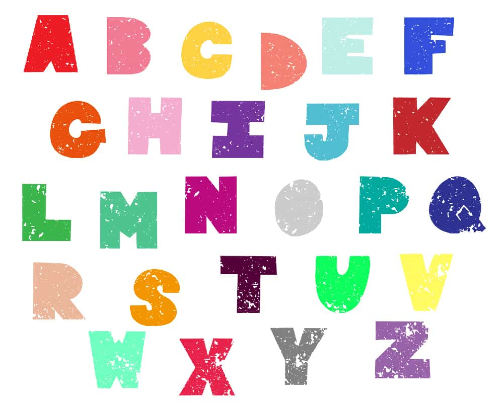 1001x801 Free Distressed, Chunky Uppercase Alphabet 26 Letters A Z