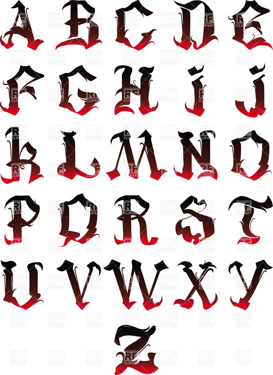 873x1200 Gothic Alphabet Royalty Free Vector Clip Art Image