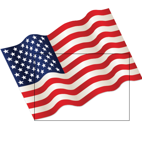 500x501 Flowing American Flag Clipart