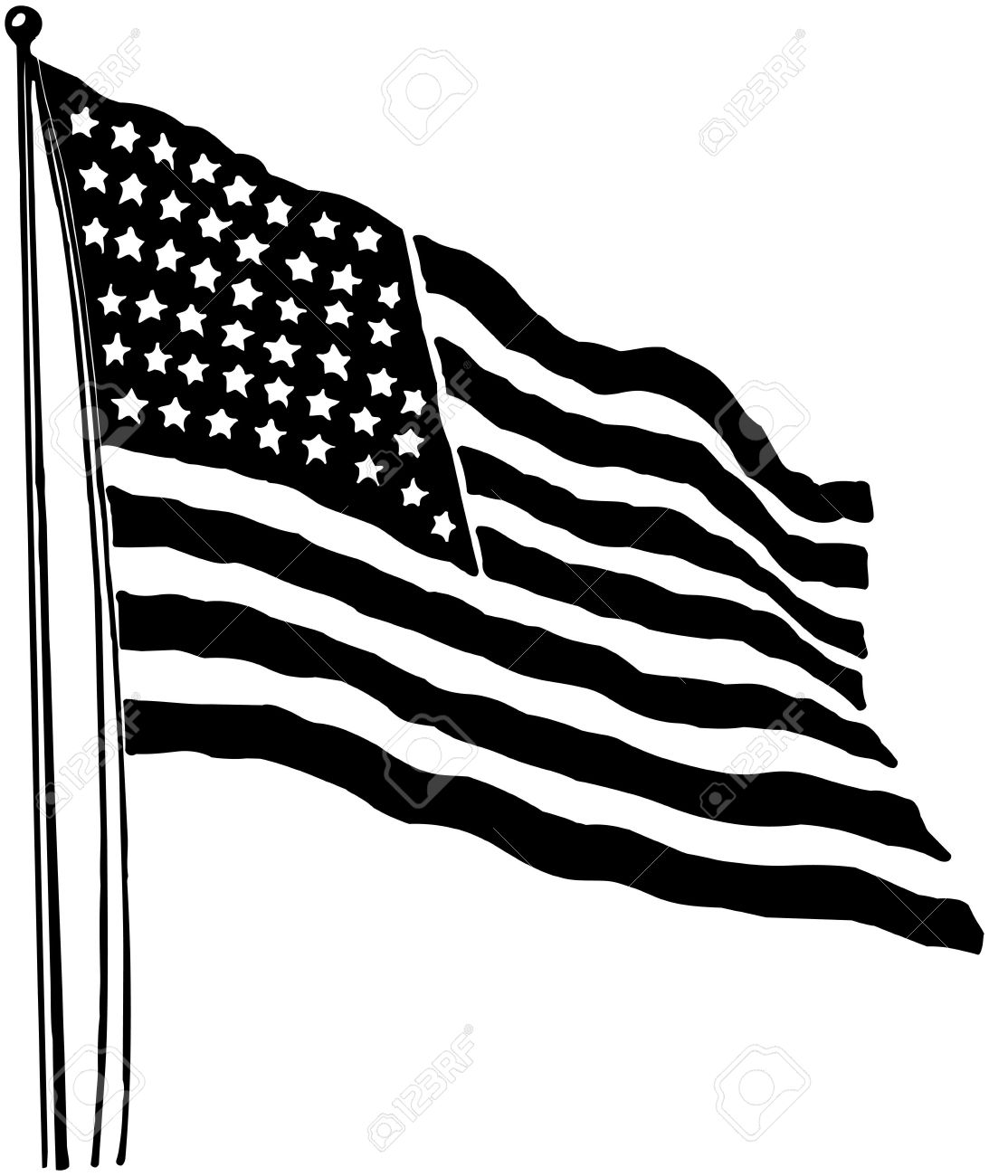 1093x1300 American Flag Black And White Vector Clipart Collection