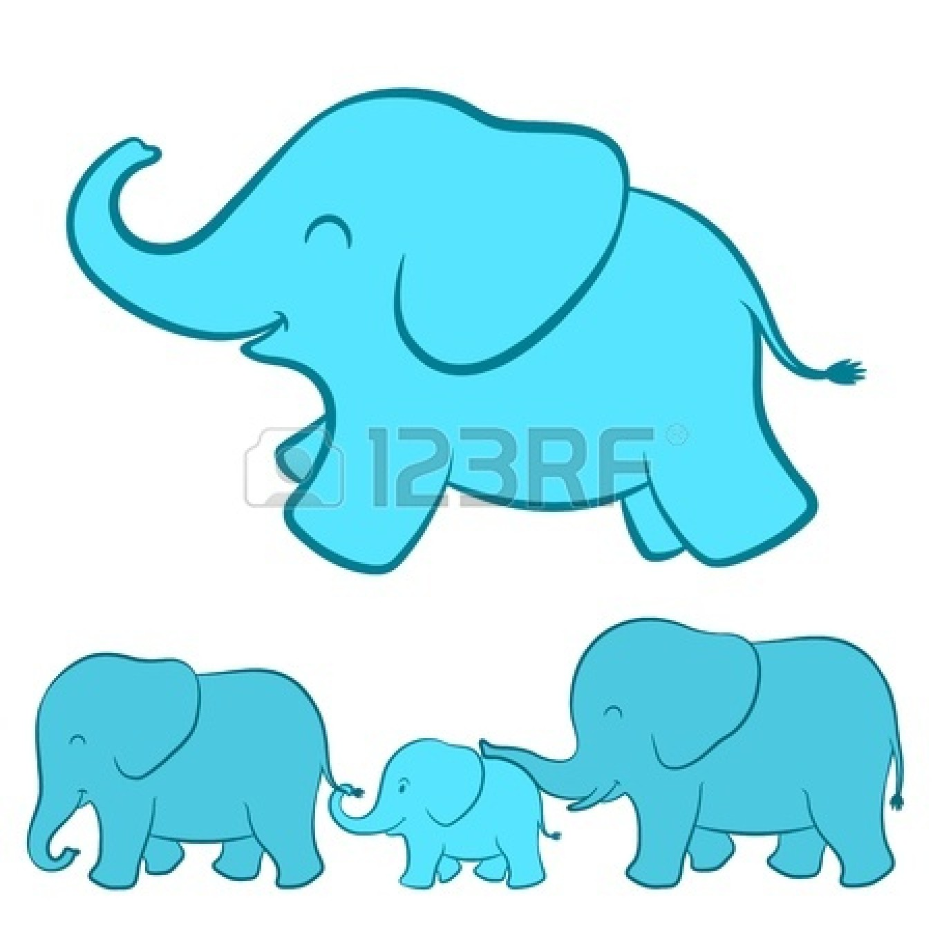 1350x1350 Mommy And Baby Elephant Clipart