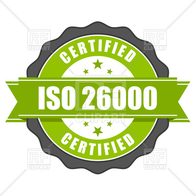 400x400 ISO 26000 standard certificate badge Royalty Free Vector Clip Art